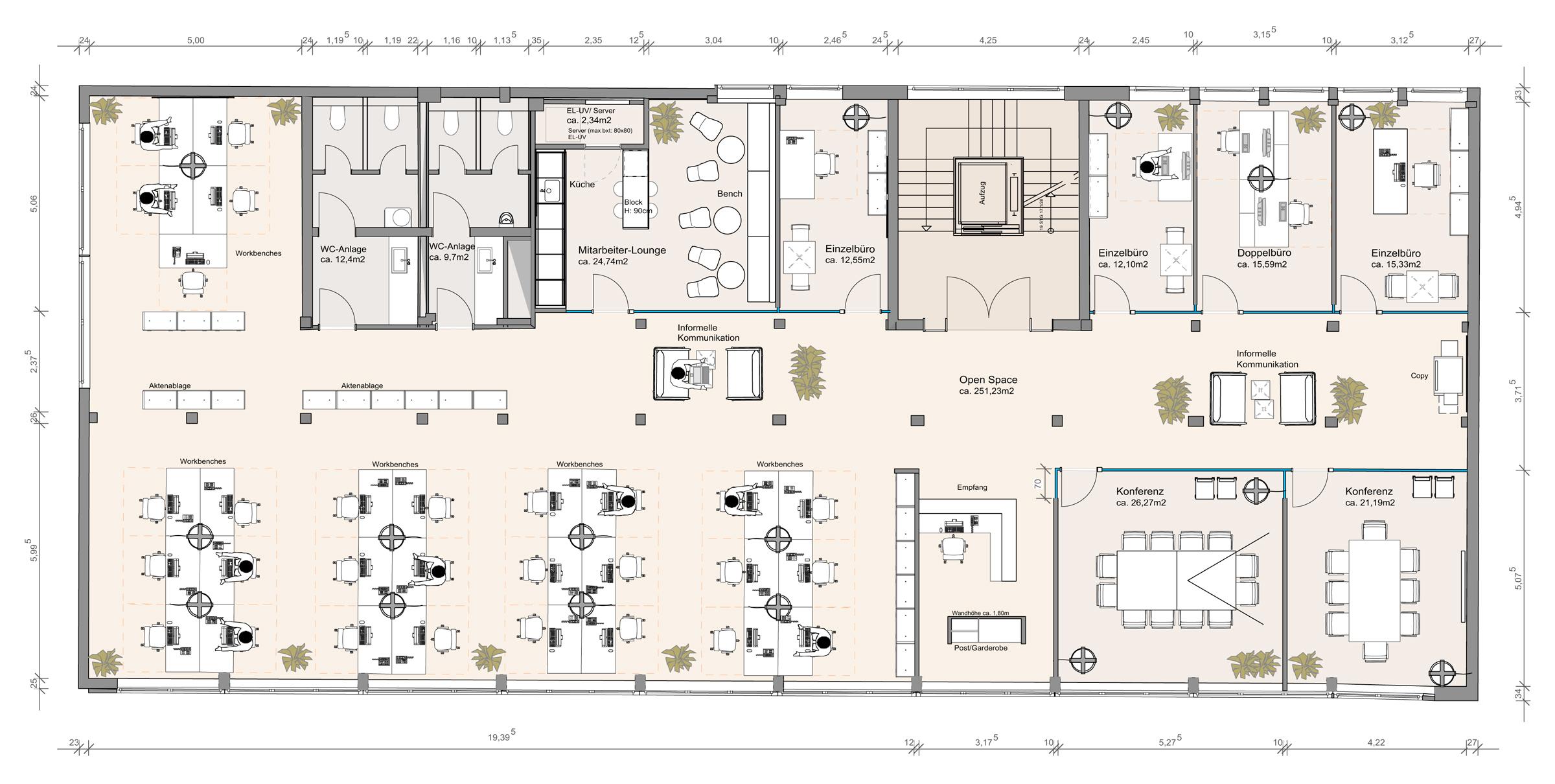moderne burokonzepte grundriss, 72west, Design ideen